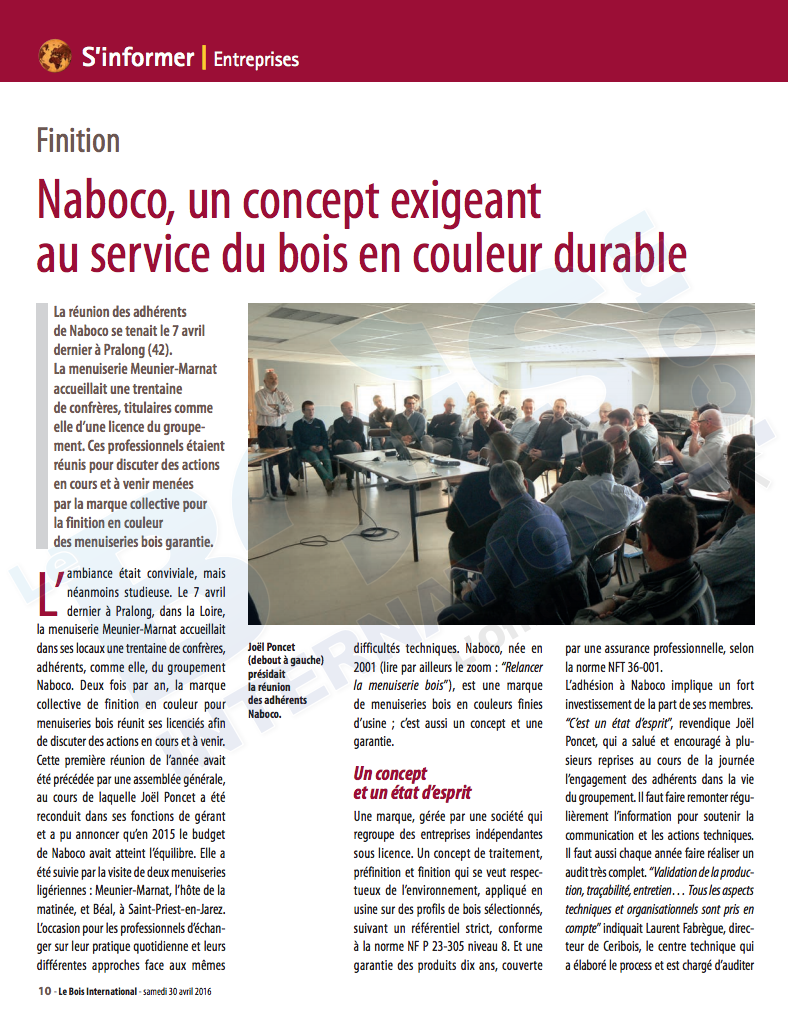 Article Le Bois International - avril 2016